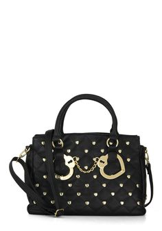 Betsey Johnson Locks to Talk About Bag by Betsey Johnson - Black, Gold, Solid, Studs, Casual, Urban