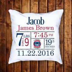 Chicago Cubs Birth Announcement Throw Pillow / 14x14 / Personalized / Custom made/ World Series winner by JamminThread on Etsy