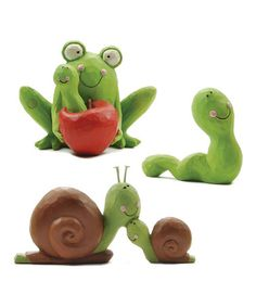 Take a look at this Frog & Snail Figurine Set by Blossom Bucket on #zulily today!
