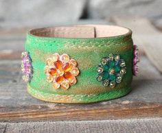 Bracelets made from vintage leather belts