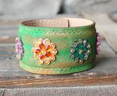 Bracelets made from vintage leather belts