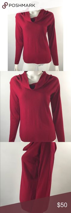 Eileen Fisher Sweater Med Red Cowl Neck Wool Eileen Fisher Womens Sweater Size Medium Red Cowl Neck Merino Wool Long Sleeve. Measurements: (in inches) Underarm to underarm: 20.5 Length: 24  Good, gently used condition Eileen Fisher Sweaters Cowl & Turtlenecks