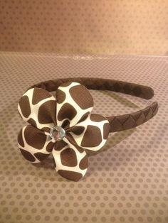 Animal Print Flower Hairclip with Chocolate Brown Woven Headband...Girls Headband...Baby/Infant Headband on Etsy, $10.00