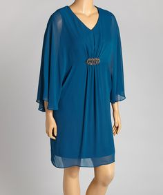 Another great find on #zulily! En Focus Studio Teal Shimmer V-Neck Dress - Plus by En Focus Studio #zulilyfinds