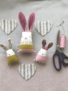 handmade toys Handmade bunnies set Cutest handmade bunny rabbit toys gift for your little one Fabric Toys, Fabric Crafts, Sewing Crafts, Sewing Projects, Diy Ostern, Bunny Toys, Bunny Rabbits, Sewing Dolls, Sewing For Kids