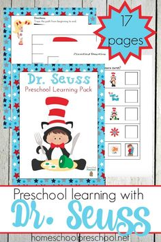 Seuss's birthday is next month. Let's celebrate with a fun Dr Seuss preschool printable full of fun activities for your little ones to enjoy! Dr Seuss Activities, Preschool Themes, Preschool Learning, Preschool Activities, Preschool Books, Book Activities, Dr Seuss Printables, Printable Preschool Worksheets, Free Printables