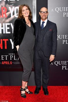 Out on the town: Stanley Tucci, 57, and wife Felicity Blunt were snapped in New York City attending the premiere of A Quiet Place on Monday at AMC Lincoln Square Theater