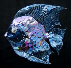 Recycled CD's make up this fish. The artwork on this site is beautiful and made from recycled materials.