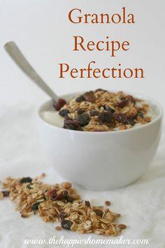 Granola Recipe Perfection at The Happier Homemaker