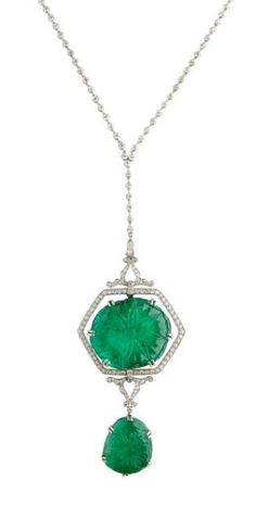 A beautiful Art Deco era emerald and diamond necklace at M. Khordipour.