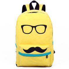 YL Cool Funny Glass Mustache Canvas Laptop Book Backpack Fashion Women Men Bag | eBay