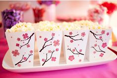 Baby shower ideas for girls snacks pink popcorn 29 Ideas - Cherry blossom spa party - Pink Popcorn, Popcorn Boxes, Japanese Theme Parties, Japanese Party, Chinese Party, Asian Party, Cherry Blossom Party, Cherry Blossoms, Wedding Ideas