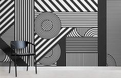 Oriz Geometric Black and White Wall Mural – White and Black Wallpaper Geometric Wallpaper Murals, World Map Wallpaper, Wall Wallpaper, Mural Art, Wall Murals, White Restaurant, Black And White Wallpaper, Striped Wallpaper, New Wall