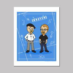 Mythbusters Jamie and Adam Cartoon Art Print by @Beck Seashols, $5.00