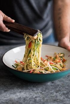 Healthy Chicken Zucchini Noodle Pad Thai Recipe | @whiteonrice