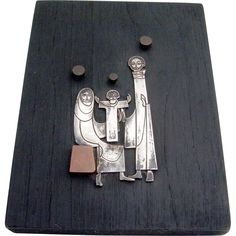 Mexican Modernist Mary Joseph And Baby Jesus Art Sterling Silver  from berrycom-com on Ruby Lane