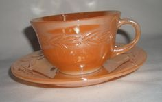 Teacup Soy Wax Candle in Vintage Fire-King Peach Lustre Cup & Saucer Set