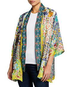Johnny Was Designer Plus Size Morocco Reversible Silk Kimono Long Kimono, Silk Kimono, Kimono Jacket, Kimono Sewing Pattern, Sewing Patterns, Johnny Was Clothing, Embroidered Tunic, Blouse Styles, Kimono Fashion