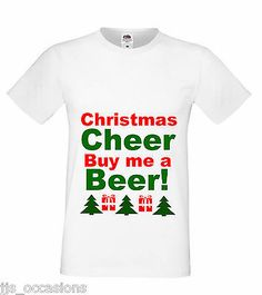 CHRISTMAS T-SHIRT WHITE FITTED TOP BUY ME A BEER! LADIES GIFT IDEA SECRET SANTA