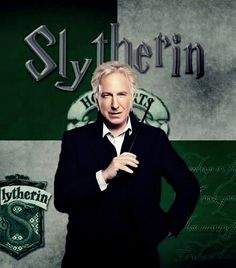 Actor Alan Rickman portrayed Severus Snape in all eight Harry Potter films, as Head of Slytherin House * Slytherin is one of the four Houses at Hogwarts School of Witchcraft and Wizardry, founded by Salazar Slytherin Saga Harry Potter, Theme Harry Potter, Harry James Potter, Harry Potter Books, Harry Potter World, Severus Hermione, Alan Rickman Severus Snape, Severus Rogue, Hermione Granger