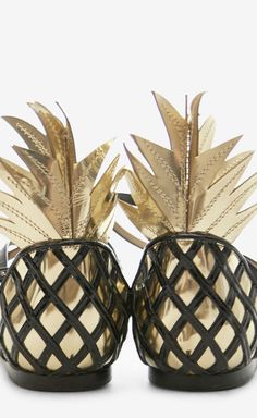 Aquazzura Black And Gold Flat Sandals// Love that they look like pineapples//