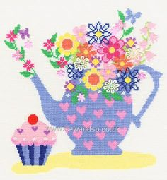 Buy+Teapot+Bouquet+Cross+Stitch+Kit+Online+at+www.sewandso.co.uk