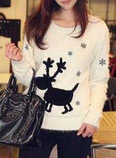 Women's Christmas Fair Isle Print Mohair Pullover Sweater