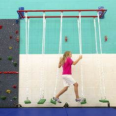 Woodworking Equipment Swing Steppers - 5 swinging steps for a fun, balancing challenge! - Top rated climbing equipment for your school and gyms! Indoor Jungle Gym, Indoor Gym, Indoor Playhouse, Build A Playhouse, Park Playground, Backyard Playground, Children Playground, Playground Design, Playground Ideas