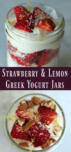 Strawberry Lemon Greek Yogurt Jars. Make-ahead breakfast meal prep recipe.