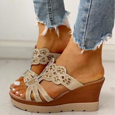 Style: Fashion, Stylish   Item: Wedges   Upper Material: Faux Leather   Toe: Open Toe   Closure Type: /   Heels: Platform   Height of Heel: About 5cm Peep Toe Platform, Platform Wedge Sandals, Wedge Shoes, Heeled Sandals, Shoes Sandals, Shoes Heels Wedges, Platform Shoes, Trend Fashion, Fashion Shoes