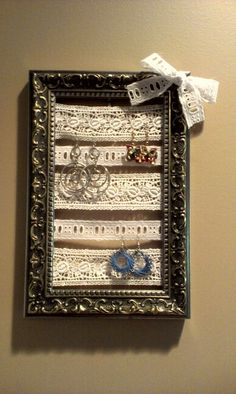 DIY decor for my dorm room using lace and a picture frame!