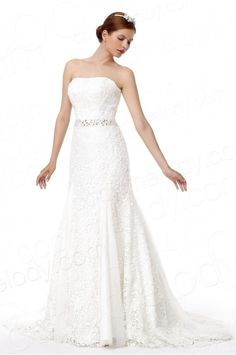 Timeless Trumpet-Mermaid Strapless Court Train Lace Wedding Dress Alb12297 #weddingdress #cocomelody
