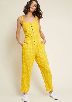 Every Waking Momentum Cotton-Linen Jumpsuit in Yellow Dotted in XXSOnce you're buttoned into this olive green jumpsuit, your day will really get going! A pocketed piece from our ModCloth namesake label, this cotton-linen.Rompers are a wardrobe must f Summer Outfits, Casual Outfits, Cute Outfits, Jumpsuit Hijab, Yellow Jumpsuit, Yellow Clothes, Mode Hijab, Jumpsuits For Women, Modcloth