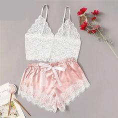 COLROVIE Floral Lace Cami Top With Satin Shorts Lingerie Set Women 2019 Summer Sexy Sets Ladies Bra And Panty Underwear Set - Underwear for women - Ideas of Underwear for women Lingerie Look, Lingerie Outfits, Lace Lingerie Set, Pretty Lingerie, Lingerie Shorts, Lingerie Dress, Luxury Lingerie, Beautiful Lingerie, Cute Sleepwear