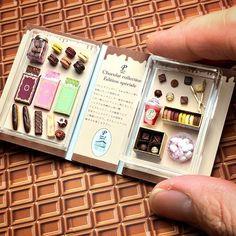 02 Miniature Box Chocolat Collection Dollhouse ♡ ♡ By ishibashi electronics Cute Polymer Clay, Cute Clay, Polymer Clay Miniatures, Miniature Crafts, Miniature Food, Miniature Dolls, Diy Dollhouse, Dollhouse Miniatures, Cute Crafts