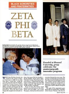 Zeta Phi Beta Sorority Inc. covered in 1991 Ebony Magazine.  Bottom left photo features Founder Myrtle Faithful being pinned with a corsage on the sorority's 71st Anniversary.
