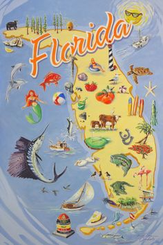 """Brendan Coudal's newest painting titled """"Fabulous Florida,"""" an homage to all the things that make the Sunshine State great! Old Florida, Vintage Florida, Florida Usa, Florida Travel, Florida Beaches, Florida Maps, Florida Living, South Florida, Jackson Hole"""