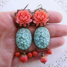 Victorian Cameo orecchini cabochon vintage turchese e rose corallo