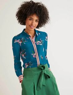 The Silk Shirt - Country Posy Boden Uk, Tapered Trousers, Trends, Workout Shirts, Feminine, Silk, My Style, How To Wear, Clothes
