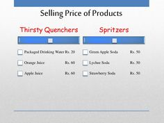 Selling Price of Products Thirsty Quenchers Packaged Drinking Water Rs. Cafe Business Plan, Sample Business Plan, Business Planning, Executive Summary, Lychee Soda, Unique Selling Proposition, Garden Coffee, Guerilla Marketing, Making Life Easier