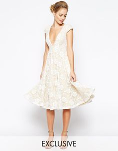 Image 1 of Jarlo Hartley Lace Midi Dress With Plunge Neckline