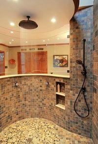 Tiled free standing shower