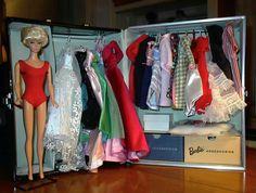 Reproduction bubblecut Barbie & fashions, vintage Barbie trunk. LOVE!