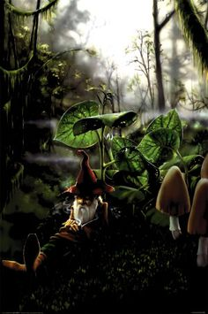A great poster of a gnome taking some respite in the forest among the mushrooms! Art by Richard Biffle. Need Poster Mounts. Forest Creatures, Magical Creatures, Fantasy World, Fantasy Art, Fantasy Forest, Fantasy Posters, Art Posters, Kobold, Sale Poster