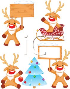 Royalty Free Clipart Image of a Set of Rudolphs