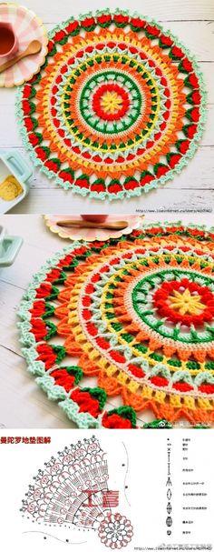Crochet mandala rug colour 52 ideas for 2019 Crochet Doily Rug, Crochet Mandala Pattern, Crochet Stitches Patterns, Crochet Round, Crochet Squares, Love Crochet, Crochet Designs, Crochet Hooks, Knit Crochet