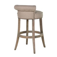 Linen Roll Top Bar Stool with Stud Detail