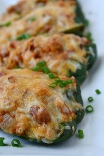 Mexican Stuffed Poblano Peppers - (These are made like regular stuffed peppers rather than chiles rellenos. Mexican Dishes, Mexican Food Recipes, Beef Recipes, Vegetarian Recipes, Cooking Recipes, Healthy Recipes, Healthy Foods, Pepper Recipes, Vegetarian Mexican