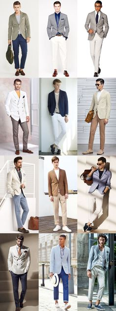 Men's Go-To Smart-Casual Summer Outfit Combinations: Lightweight Suit Separates Combination Inspiration Lookbook