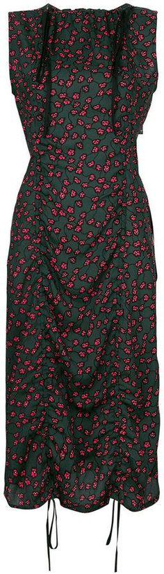 Marni patterned drawstring ruched dress